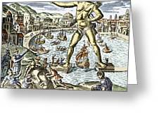 Colossus Of Rhodes Statue Greeting Card by Sheila Terry