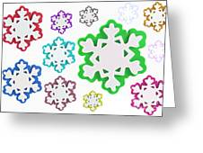 Coloured Snowflakes Isolated Greeting Card
