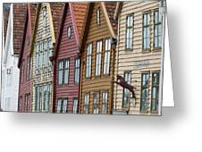 Colourful Houses In A Row Bergen Norway Greeting Card