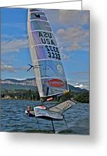 Columbia River Gorge Sailboat Racing Greeting Card