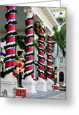 Columns In Christmas Wrap Greeting Card