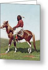 Comanche Brave Greeting Card by Frederic Remington