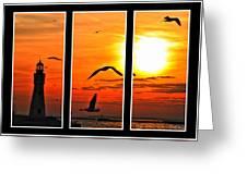 Coming Home Sunset Triptych Series Greeting Card
