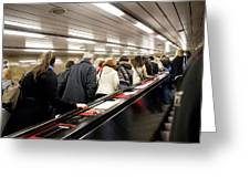 Commuters On Escalators In Prague Metro Greeting Card