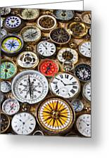Compases And Pocket Watches  Greeting Card by Garry Gay