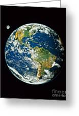 Composite Image Of Whole Earth Blue Greeting Card