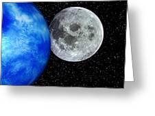 Computer Artwork Of Full Moon And Earth's Limb Greeting Card