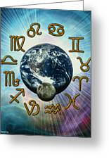 Computer Artwork Of The Zodiac Signs Around Earth Greeting Card