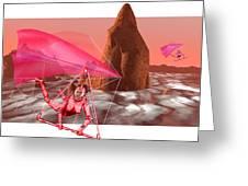 Computer Artwork Of Women Hang-gliding On Mars Greeting Card