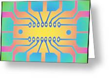 Computer Artwork Representing A Circuit B Greeting Card