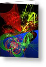 Computer Generated Blue Red Green Abstract Fractal Flame Modern Art Greeting Card