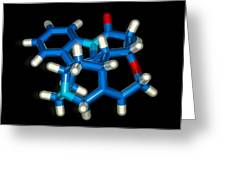 Computer Graphic Of A Strychnine Molecule Greeting Card