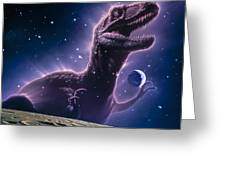 Conceptual Art Of A Ghostly Dinosaur Over The Moon Greeting Card by Joe Tucciarone