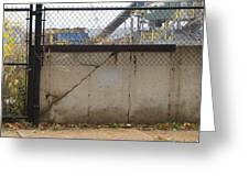 Concrete And Rusty Fence Greeting Card
