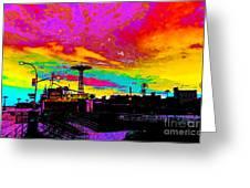 Coney Island In Neon B Flat Minor Greeting Card