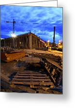 Constraction Site At Night Greeting Card