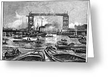 Construction Of Tower Bridge, 1890s Greeting Card