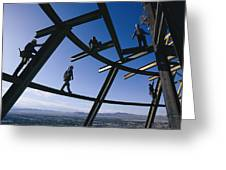 Construction Workers On Beams Greeting Card