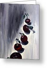 Conversation With Cherries  Greeting Card by Leslye Miller