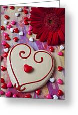 Cookie And Candy Hearts Greeting Card by Garry Gay