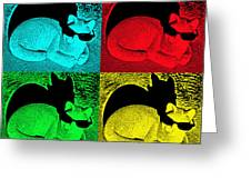 Cool Cat Pop Art Greeting Card