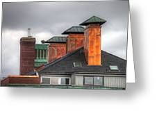 Copper-lined Chimneys On A Grey Sky Greeting Card by Matthew Green