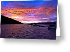 Copper River Fish Wheel Sunset Greeting Card