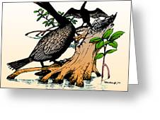 Cormorants On Mangrove Stumps Filtered Greeting Card