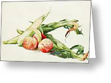 Corn And Peaches Greeting Card