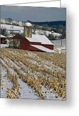 Corn Stubble And Barn In A Wintery Greeting Card
