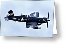 Corsair In Flight Greeting Card by Greg Fortier