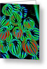 Cosmic Watermelon Leaves Greeting Card