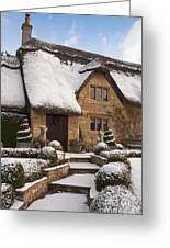 Cotswolds Cottage Covered In Snow Greeting Card