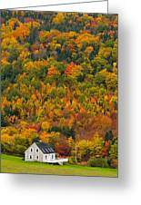 Cottage In Front Of Autumn Colours Greeting Card