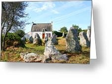 Cottage With Standing Stones Greeting Card