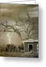Country Horses Lightning Storm Ne Boulder Co 66v Bw Art Greeting Card