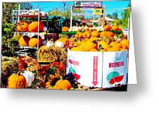 Country Road Farm Stand Greeting Card by Susan Carella