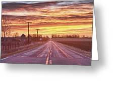 Country Road Sunrise Greeting Card
