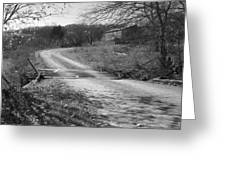 Country Roads Bw Greeting Card