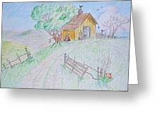 Country Woodshed Greeting Card by Debbie Portwood