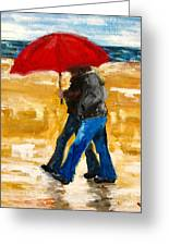 Couple Under A Red Umbrella Greeting Card