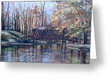 Covered Bridge At Lake Roaming Rock Greeting Card