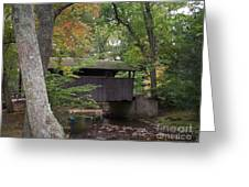 Covered Bridge By The Cottage  Greeting Card