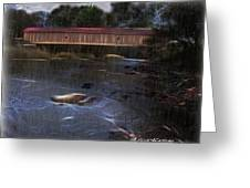 Covered Bridge In The Rain Greeting Card