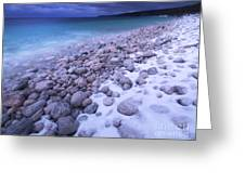 Covered With Snow Pebbled Shore Of Georgian Bay Greeting Card