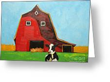 Cow And Barn 4 Greeting Card