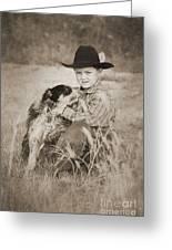 Cowboy And Dog Greeting Card