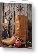 Cowboy Boots And Christmas Ornaments Greeting Card