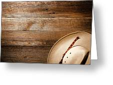 Cowboy Hat On Wood Greeting Card