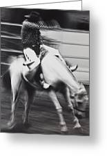 Cowboy Riding Bucking Horse  Greeting Card